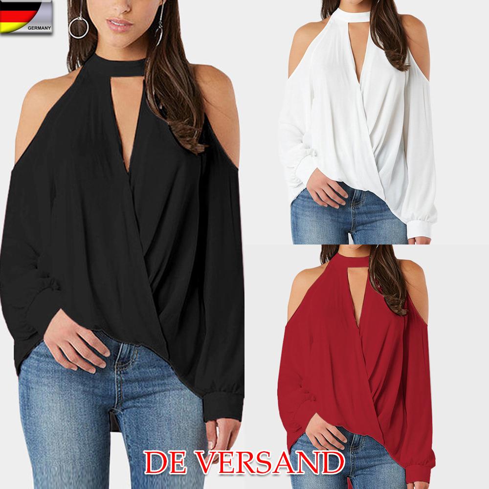 DE Damen Spitze Langarmshirt Sweatshirt Pulli Perle Oberteile Tops Slim Clubwear
