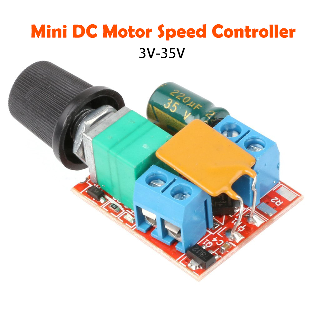 1X Mini DC 5A Motor PWM Speed Controller 3V-35V Speed Control Switch LED Dimms!