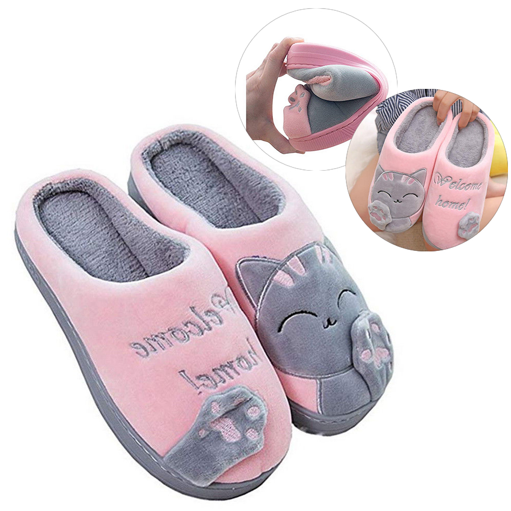 6b8d12cfc91 Details about Women Slippers Cute Cozy Cat Paw Home Warm Winter Slippers  Indoor Home Shoes Hot