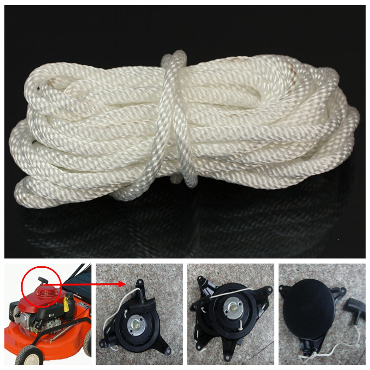 Details about 2X Multi Size Nylon Pull Starter Recoil Start Cord Rope Chain  For Most Lawnmower