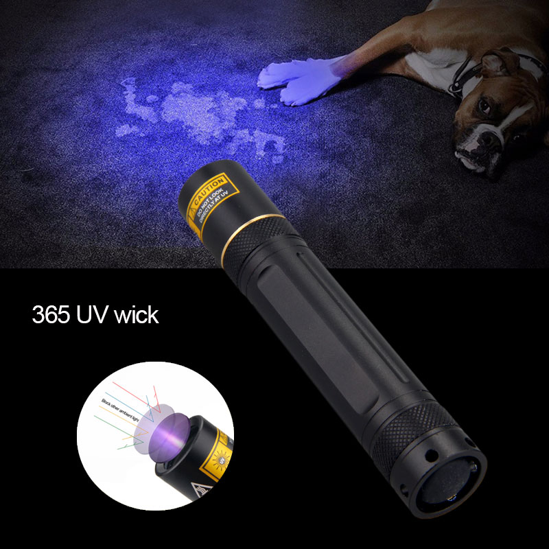 365nm UV 5W Pen Flashlight Lamp Ultraviolet Blacklight Detector USB Rechargeable