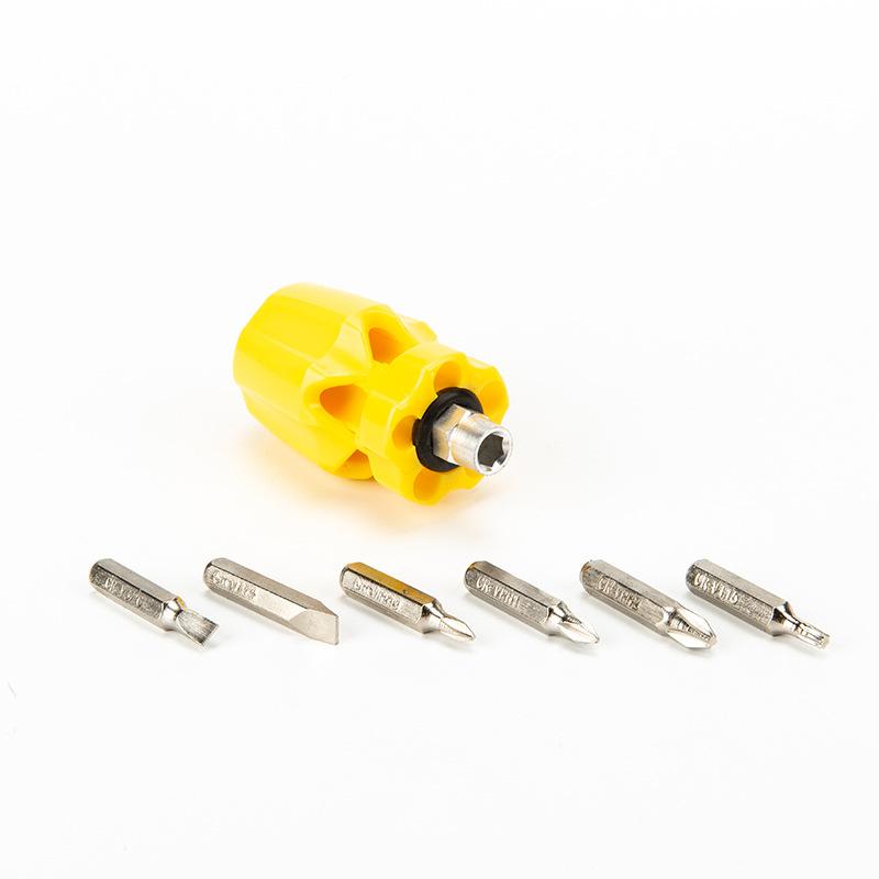 6 Mini Stubby Screwdriver Set Flat Head Phillips Drive Small Compact Hand Tools