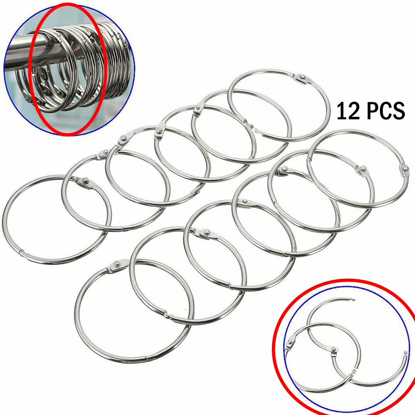 Details About 12x Round Anti Rust Metal Shower Curtain Easy Glide Bathroom Tool Hook Ring Pro