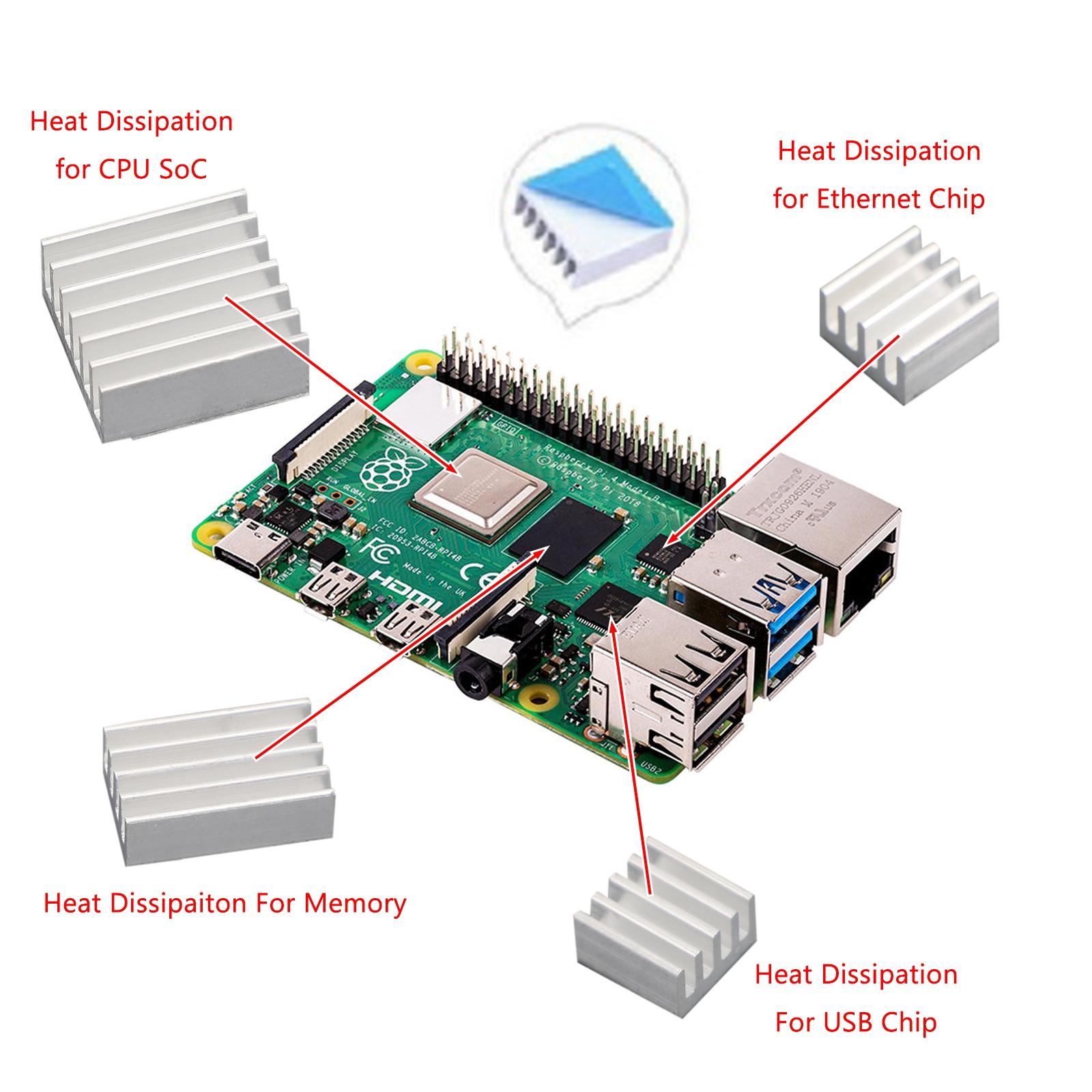 New 10Set 30PCS Aluminum Heatsink Cooler Kit Fit Cooling Raspberry Pi US T2