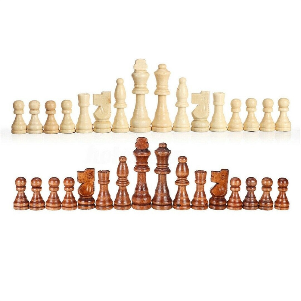 32 Large Wooden Carved Chess Pieces Hand Crafted Set 9 cm King UK U2M