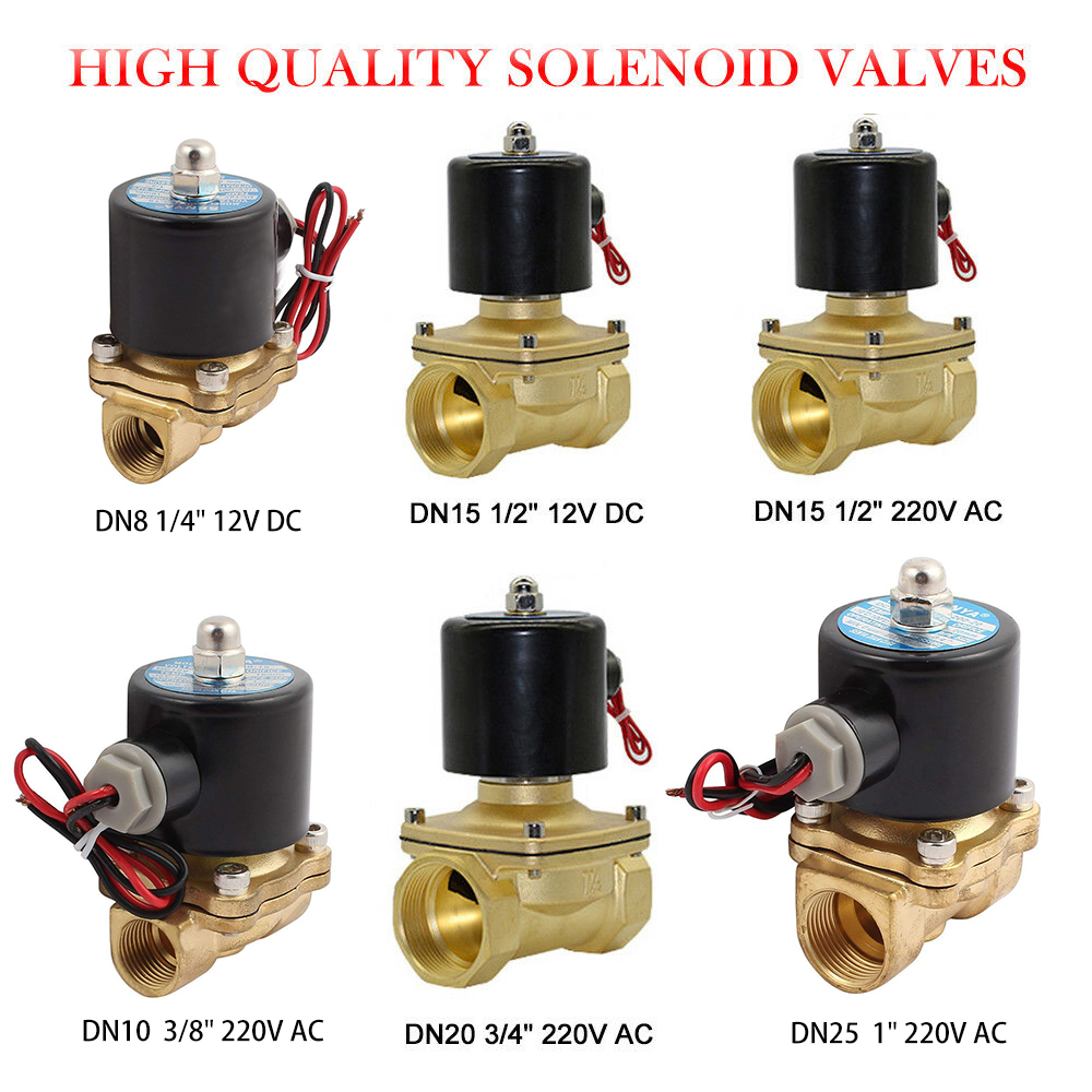 3//4/'/' AC 220V Electric Solenoid Valve Air Water Fuel Gas Brass Normal Closed N//~