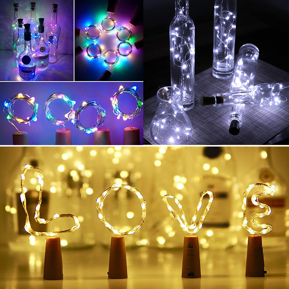 LED Wine Bottle String Fairy Lights Battery Valentine/'s Day Party Room Dec 1-6Pc