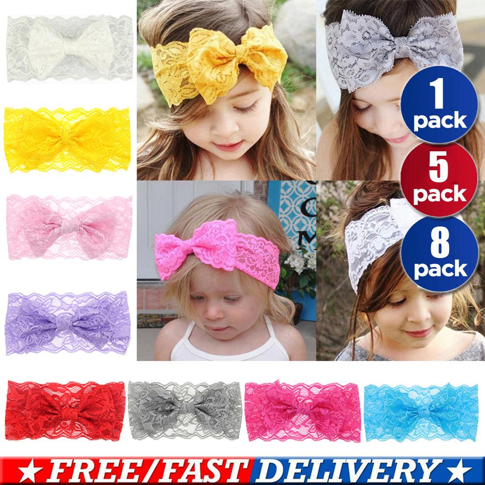 8 PCs Kids Girls Baby Headband Toddler Bow Flower Hair Band Accessories Headwear