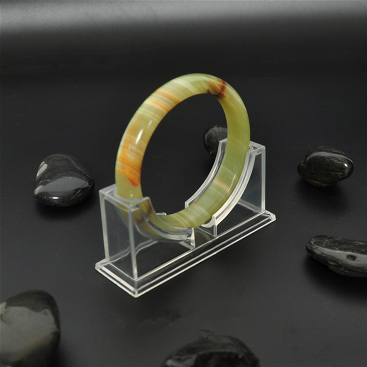 Chinese Pure natural black jade hand-carved bracelet beautiful bangle 1PC