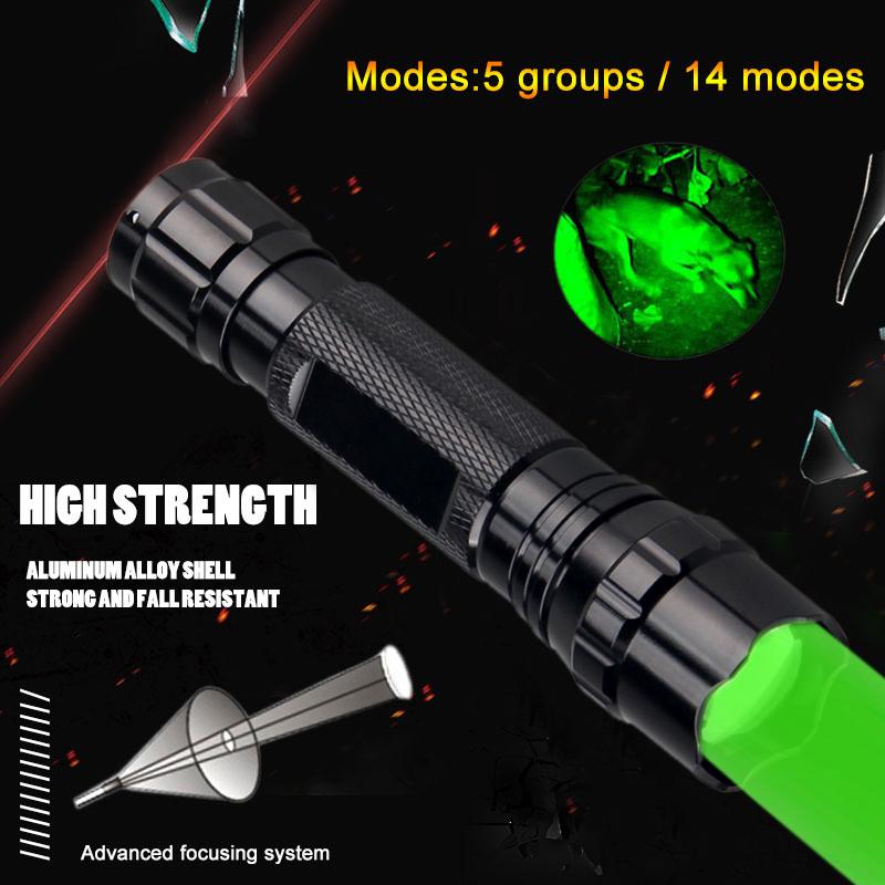 Grün Licht Zoomabar Predator Jagd 300 Yard Taschenlampe Varmint Hog Licht Lampe