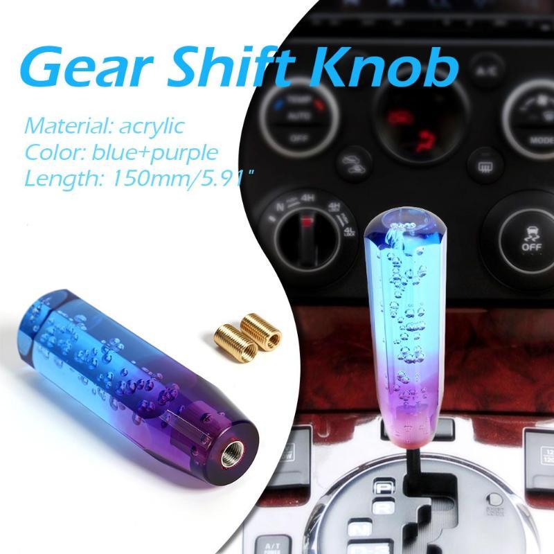 MASO Speed Gear Shift Knob Universal Car Aluminum Crystal Stick Shifter Blue+Purple 10CM