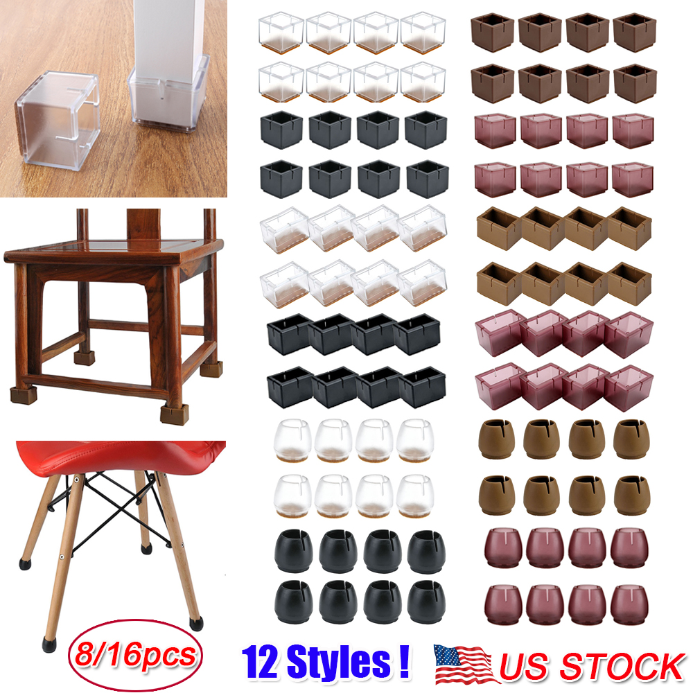 32 Pcs Silicone Chair Leg Caps Feet Pads Furniture Table Covers Floor Protect US