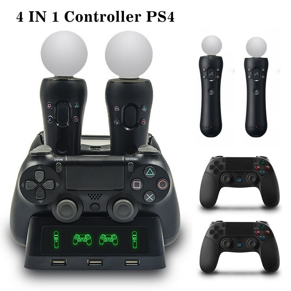 4 In1 Charging Charger Dock Stand Station For Ps4 Ps Vr Move Controller Holder Ebay