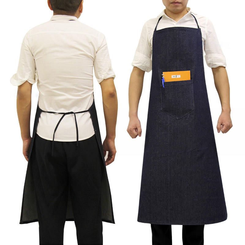Black//white check catering butcher apron cotton with pocket 70x90cm PPED007