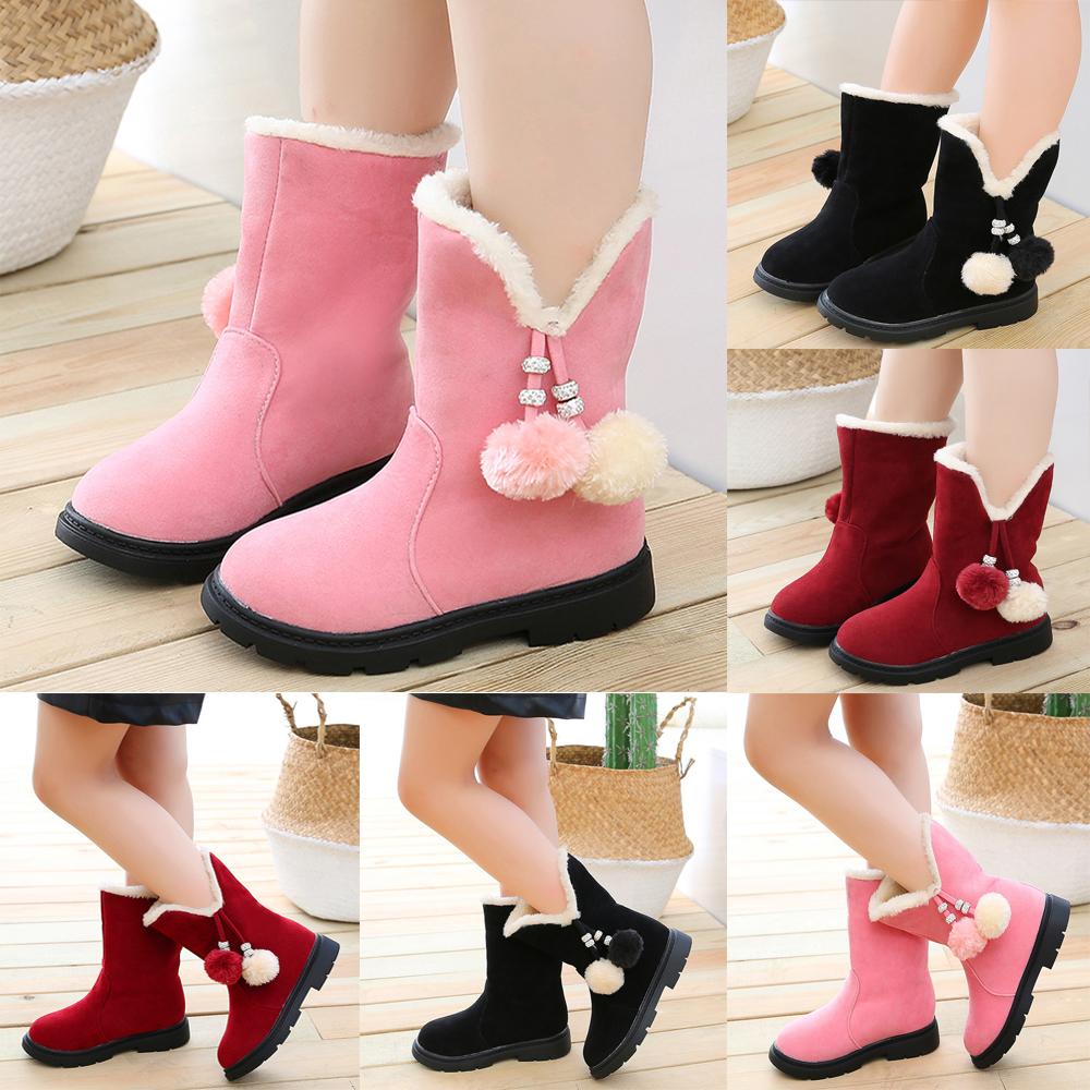 Kids Bowknot Leather Booties Girls Princess Warm Mid-Calf Snow Waterproof Boots
