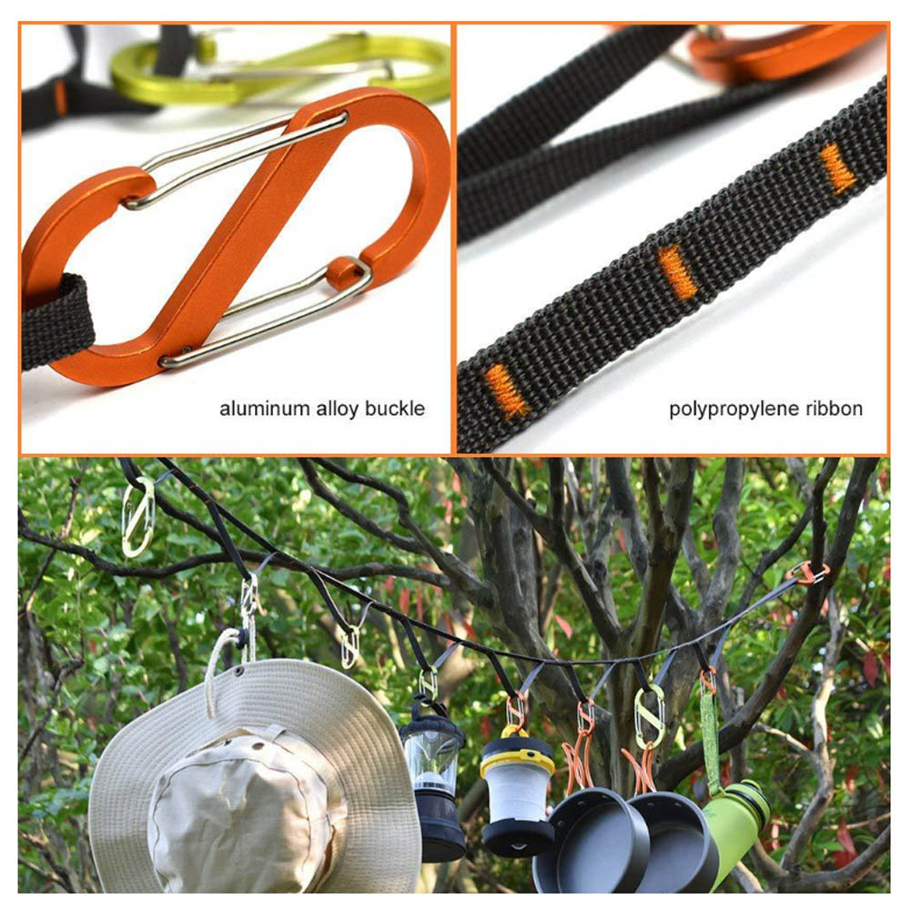Camping accessories with Tent Hanging Lanyard and Aluminum Locking Carabiner