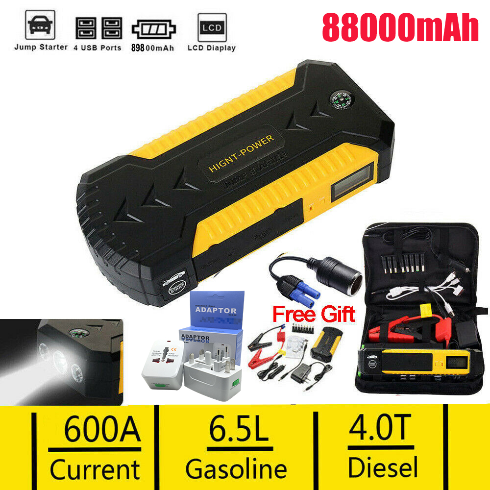 For 88000mAh Car Jump Starter 4 USB Emergency Charger Booster Power Battery US