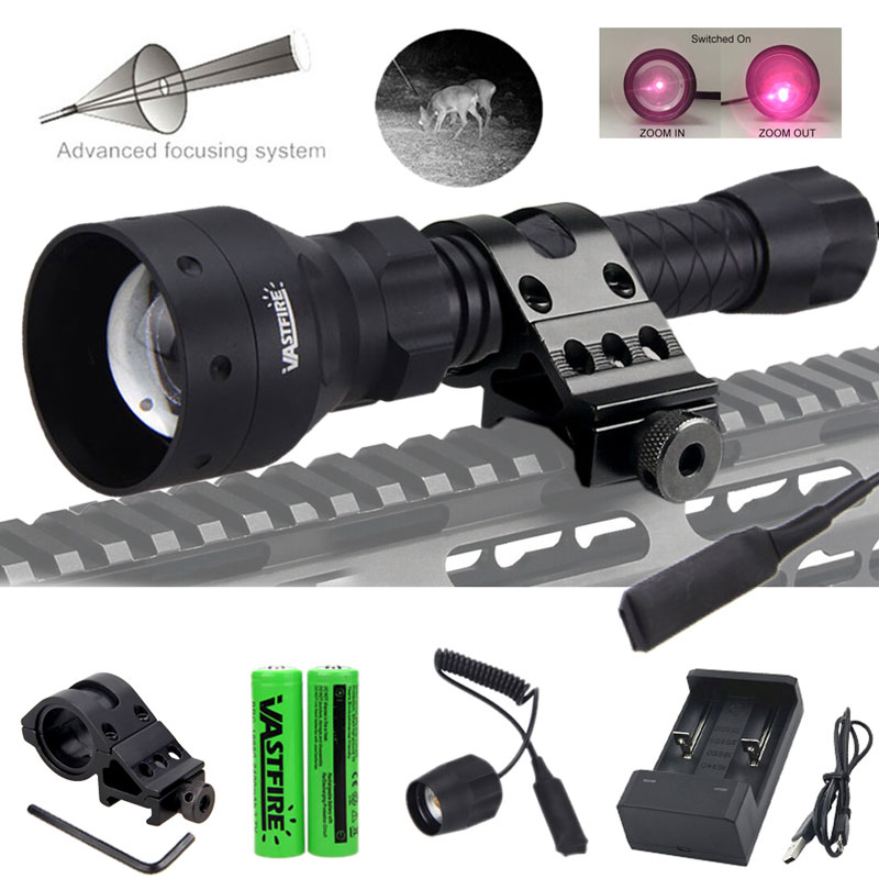 50MM IR 850nm Zoom Nigh Vision Infrared Flashlight Hunting Light w//Scope Mount