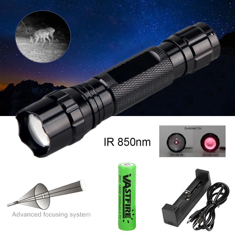 Zoom 5W 850nm LED Jagd Fackel IR Nachtsicht Taschenlampe Bereich Lampe Gun Licht