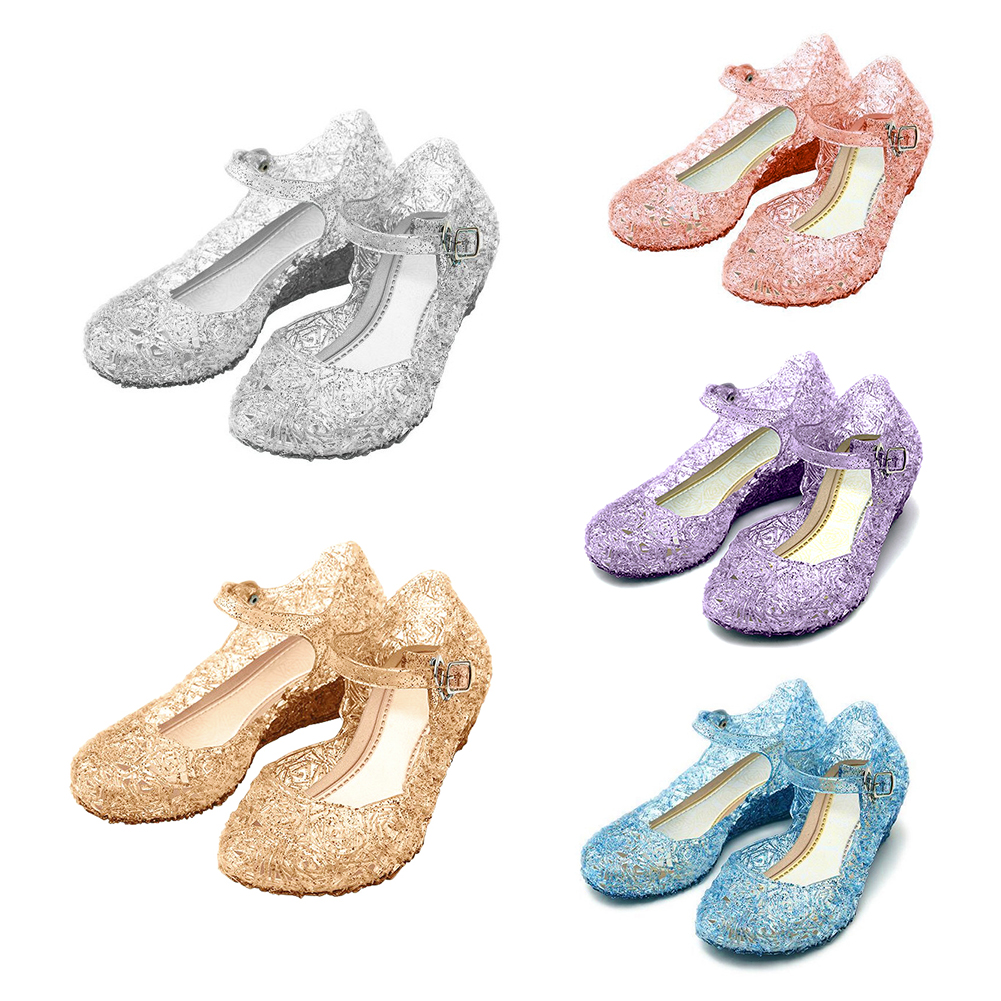 Girls Princess Cosplay Dress Up Party Sandals Crystal Shoes For Kids US 7-2 Size
