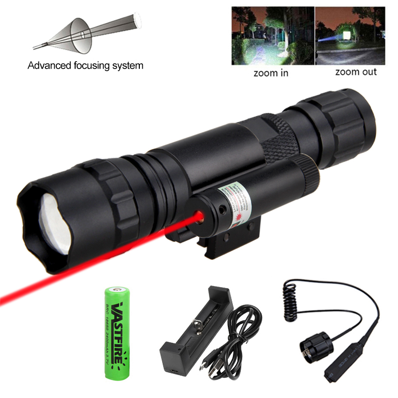 3000LM Zoomable Tactical Flashlight Red//Green LED Focus Torch Light Hunting Lamp