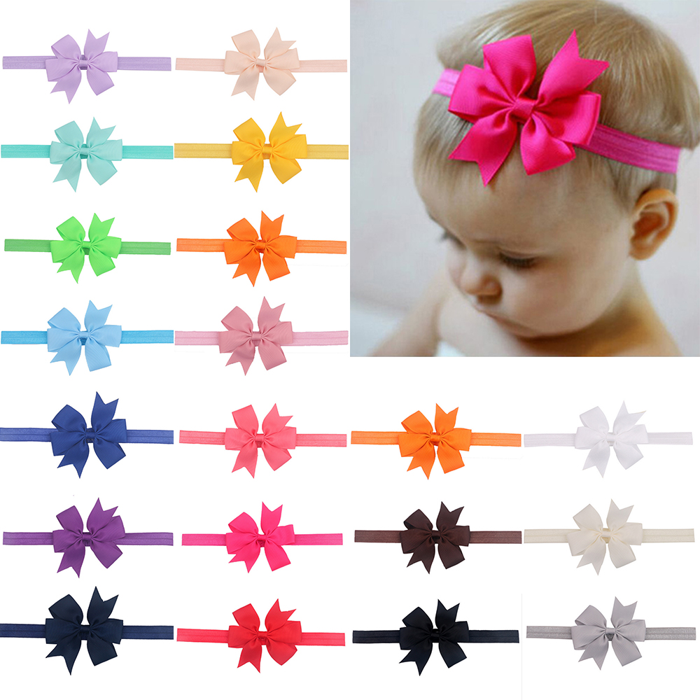 "30 Baby Girl Headbands With 4.5/"" Hair Bows HairBands for Infant Toddlers Big Bow"
