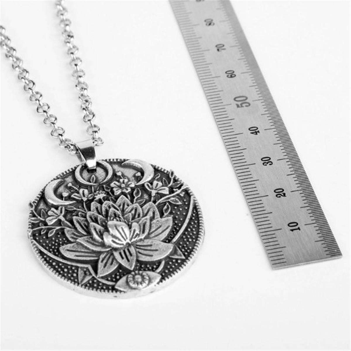 Mandala Anhänger Om Buddha tibetischen Mond Lotus Blume Heilung Schnur Halskette