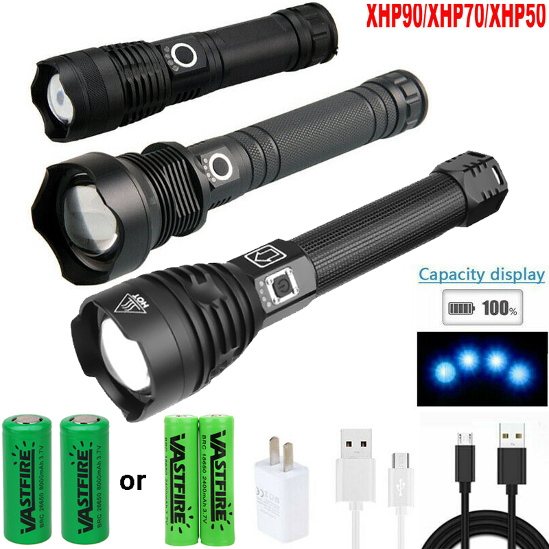 XHP50 LED Flashlight Zoom 5 Lighting Mode Outdoor Torch for Camping Emergency