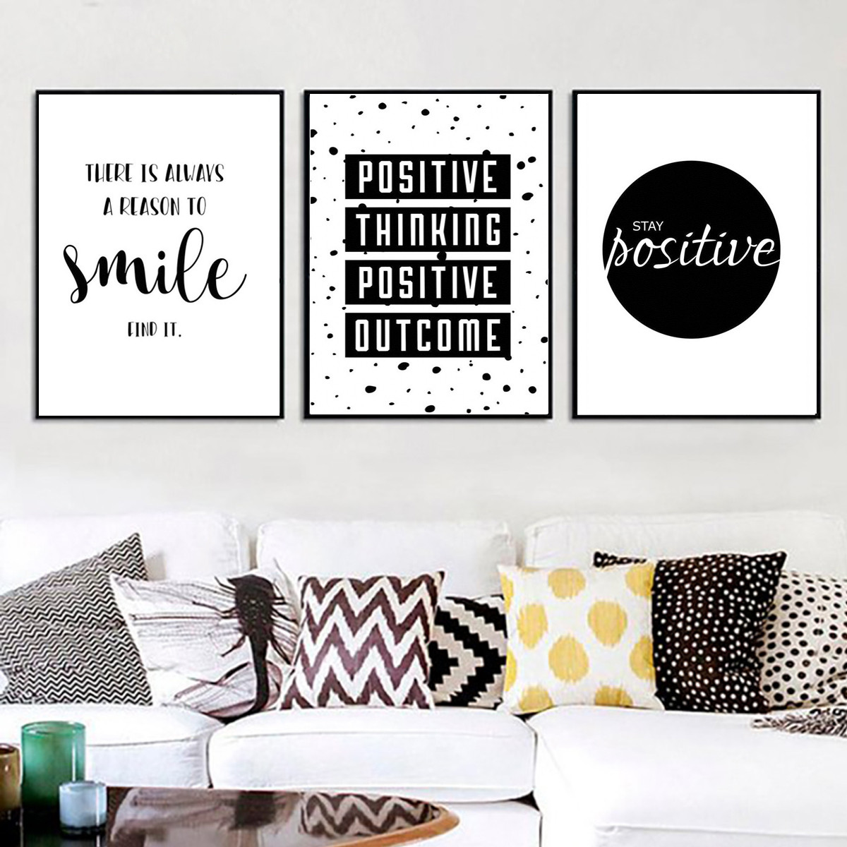 Black and White Print Positive Thinking Life Quote Art Room Decor Unframed
