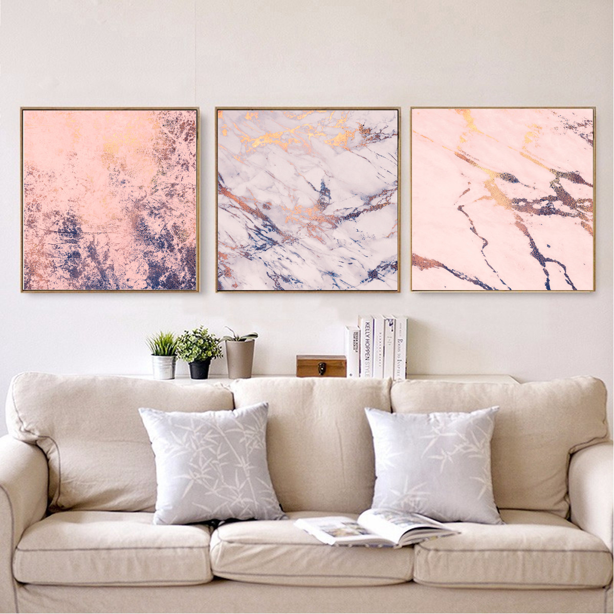 Modern Pink Marble Texture Abstract Poster Canvas Art Print Home Wall Decor Gift Ebay