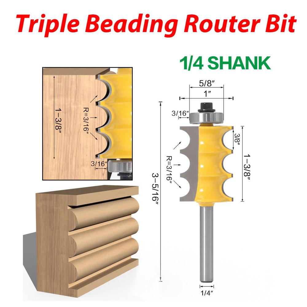 Radius Triple Beading Router Bits 8mm Shank Bead /& Triple Molding Tool