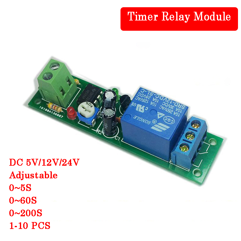 2PCS DC 12V Delay relay shield NE555 Timer Switch Adjustable Module 0~10S