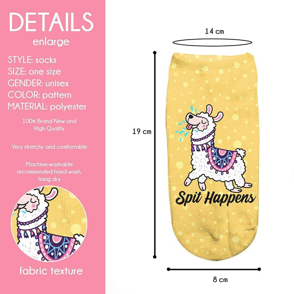 Fashion 1Pair Polyester Blend Print Women Unisex Ankle Socks Spit Happens Llama