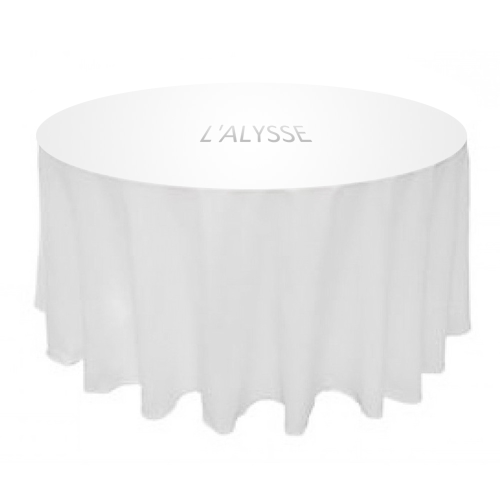 90-034-Table-Covers-Round-Tablecloth-Polyester-Wedding-Party-Banquet-L-039-alysse-White thumbnail 3