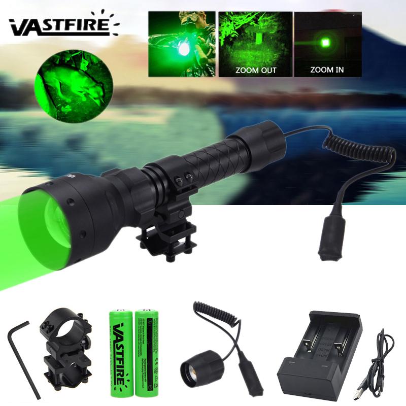 500 Yard Zoom T50 Grün LED Taschenlampe Predator Varmint Schwein Jagd Hog Licht