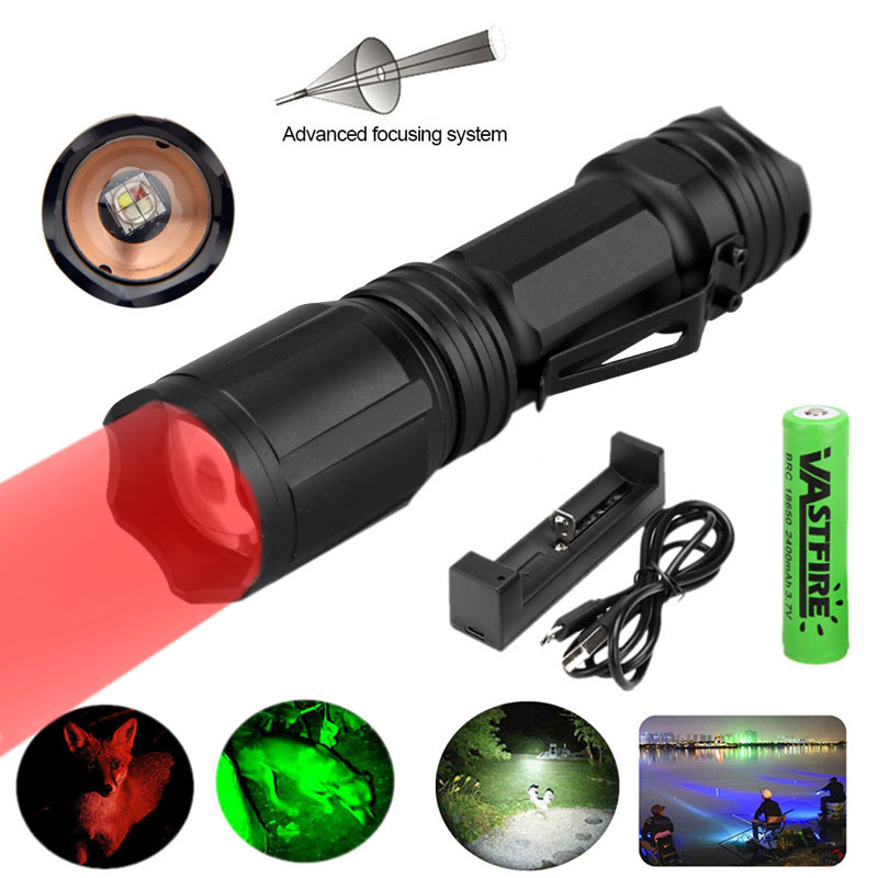 Red Green Blue White 4 in 1 Tactical Flashlight Zoom Torch Lamp Coyote Hunting