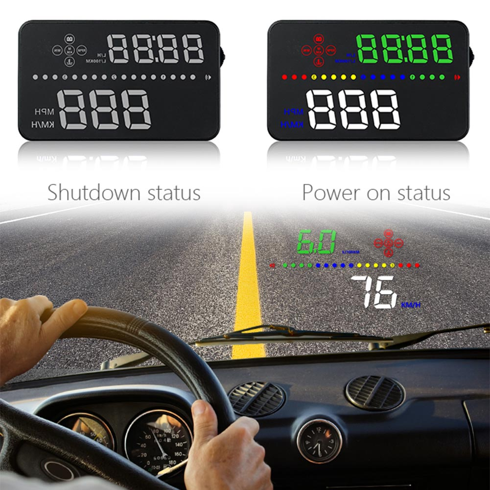 "1PC Car HUD Head Up Display OBD2 5.5/"" Speedometer Projector Speed Warning Alarm"