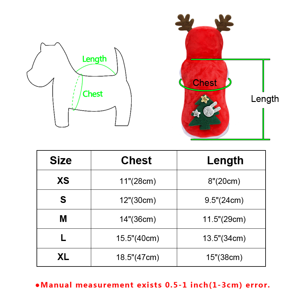 Christmas Pet Dog Cat Clothes Warm Deer Horn Hoodie Kitten Xmas Costume Outfits 12