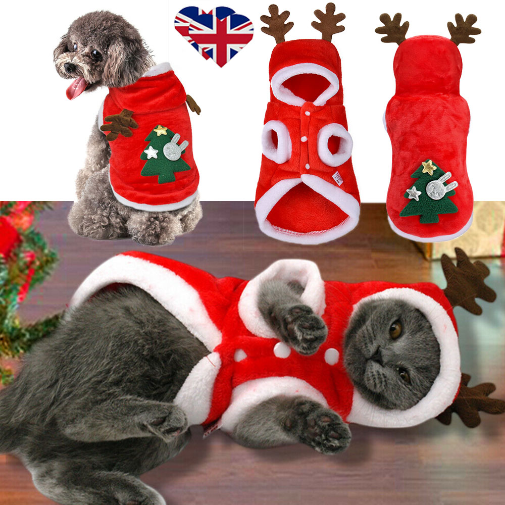 Christmas Pet Dog Cat Clothes Warm Deer Horn Hoodie Kitten Xmas Costume Outfits 1
