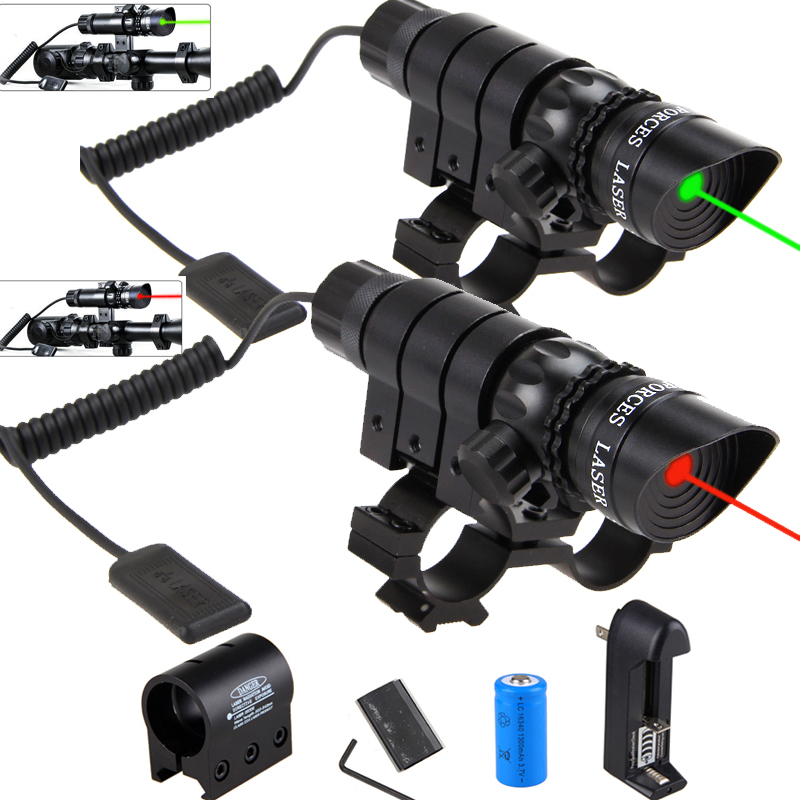 Tactical Hunting Green Laser Sight Dot Gun Rail Scope Remote Switch+16340Battery