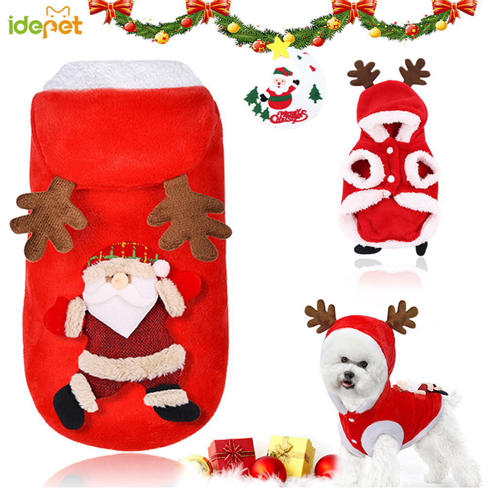 Christmas Pet Dog Cat Clothes Warm Deer Horn Hoodie Kitten Xmas Costume Outfits 7