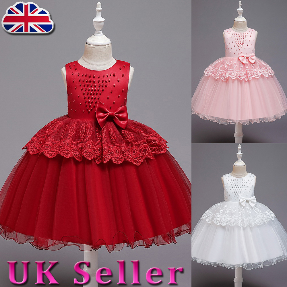 Girls Ballgown Long Lace Mesh Tutu Dress Wedding Princess Party Prom Birthday UK
