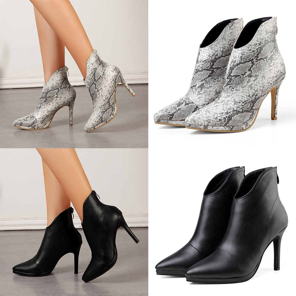 US Womens Ladies Stilettos High Heels Ankle Boots Pointed Toe Party Shoes Sizes