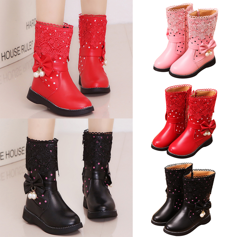 NEW Kids Girls Infant Baby Winter Bowknot  Lace Princess Zip Mid-Calf Boots Size