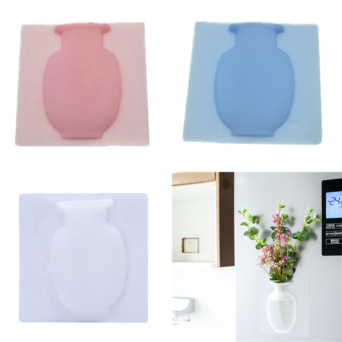 Wall Hanging Magic Sticky Bottle Silicone Vase Container Flower Pot Home
