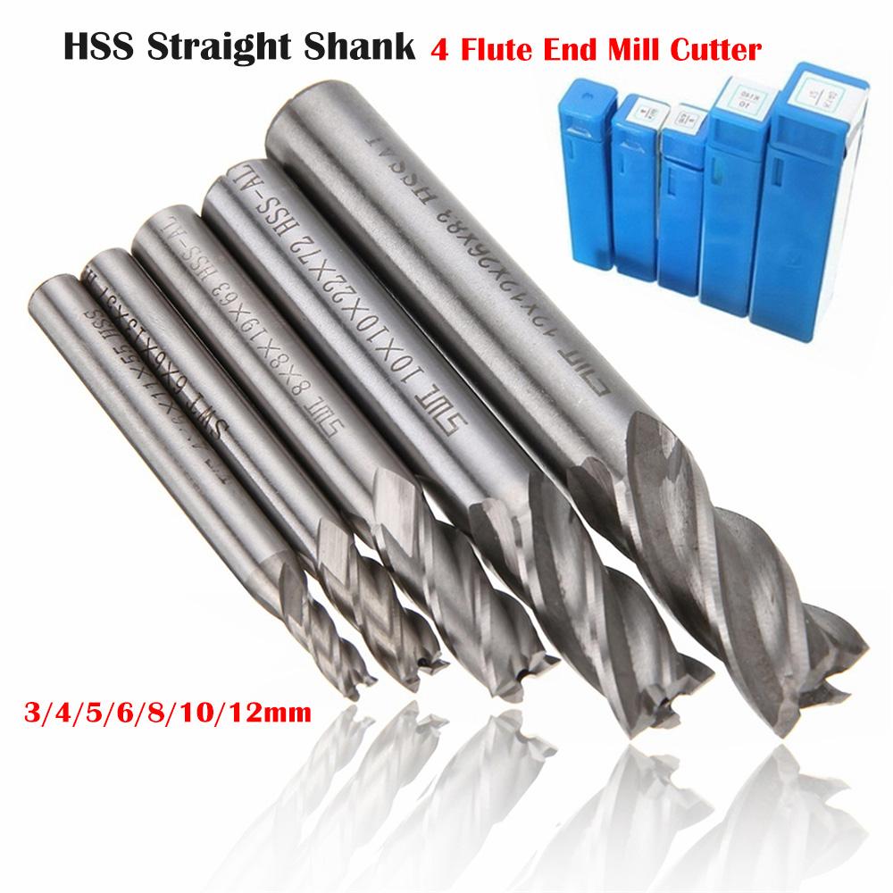 12mm 4 Flute HSS /& Aluminum End Mill Cutter Extra Long Straight Shank Cutting