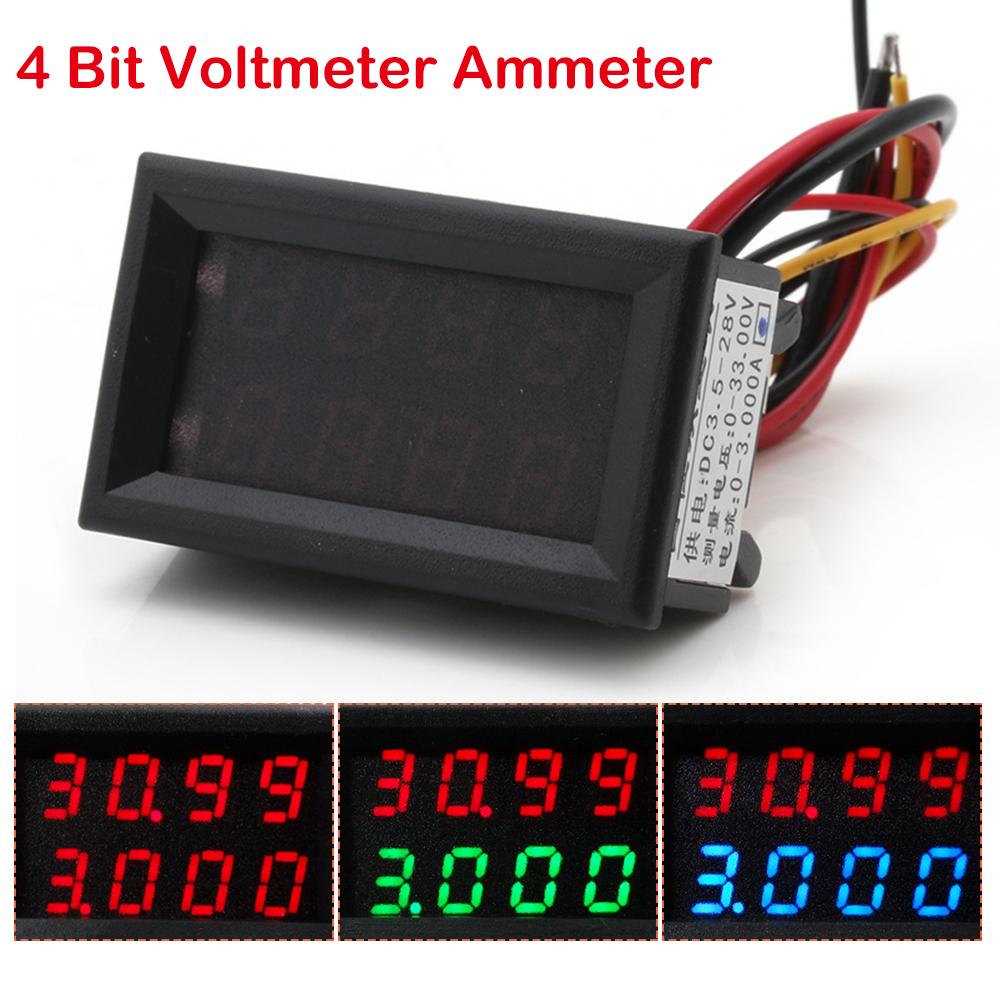 4 Bit 5 Wires 0 33v 3a Dc Voltmeter Ammeter Digital Led Amp Volt Meter Car Shunt Ebay