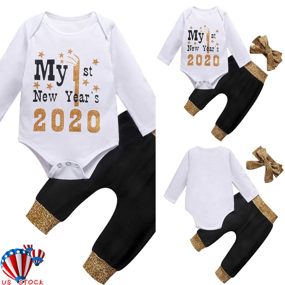 3PCS Newborn Infant Baby Girl Outfits Clothes Top Romper Bodysuit+Pants Leggings