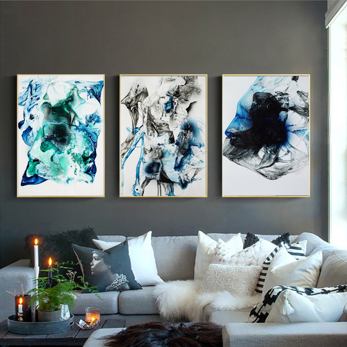 Smoke Fog Canvas Poster Living Room Unframed Abstract Picture Wall Hanging Decor Ebay