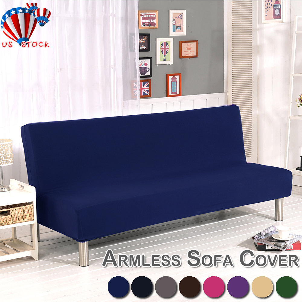 Peachy Details About Us Armless Sofa Bed Futon Slipcover Stretch Full Folding Couch Cover Protector Alphanode Cool Chair Designs And Ideas Alphanodeonline